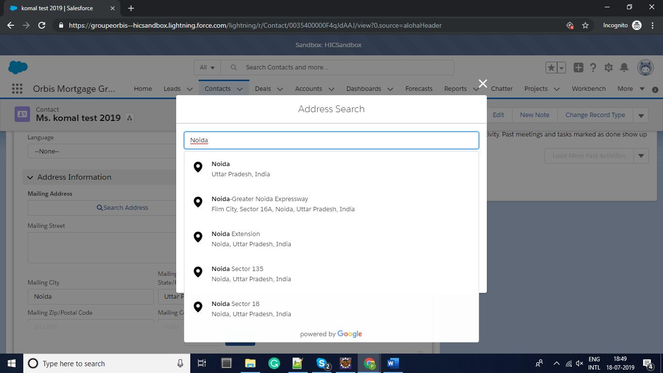 Salesforce Lightning Components to develop Address Autofill
